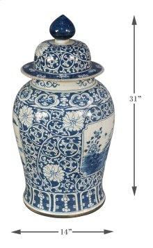 Floral Ceramic Vase W/Lid