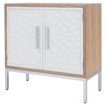 Montez Flagstone Pattern Small Buffet 2 Doors Silver Frame, White/Natural