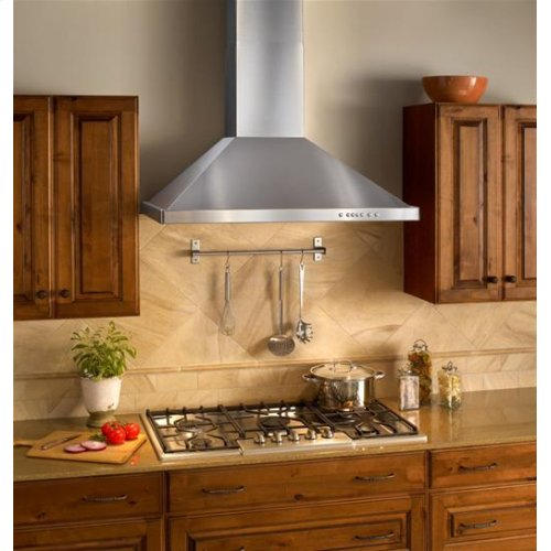 """30"""" Brushed Stainless Steel Wall Mount Chimney Hood with Internal 300 CFM Blower"""