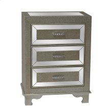 Diamond Silver Crocodile Pattern and Mirror 3 Drawer Chest