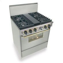 """30"""" Dual Fuel, Convect, Self Clean, Sealed Burners, Stainless Steel with Br"""