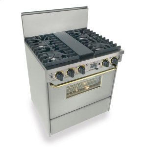 "Five Star30"" Dual Fuel, Convect, Self Clean, Sealed Burners, Stainless Steel with Br"