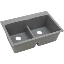 "Elkay Quartz Classic 33"" x 22"" x 10"", Equal Double Bowl Drop-in Sink with Aqua Divide, Greystone"