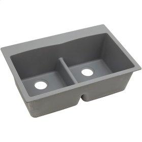 "Elkay Quartz Classic 33"" x 22"" x 10"", Equal Double Bowl Top Mount Sink with Aqua Divide, Greystone"