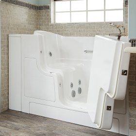 Gelcoat Premium Series 30x52 Inch Walk-in Tub with Whirlpool System and Outward Opening Door, Right Drain  American Standard - Linen