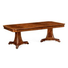 Crotch Walnut Curved Pedestal Extending Dining Table