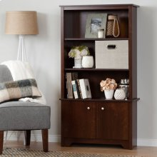 3-Shelf Bookcase with Doors - Sumptuous Cherry