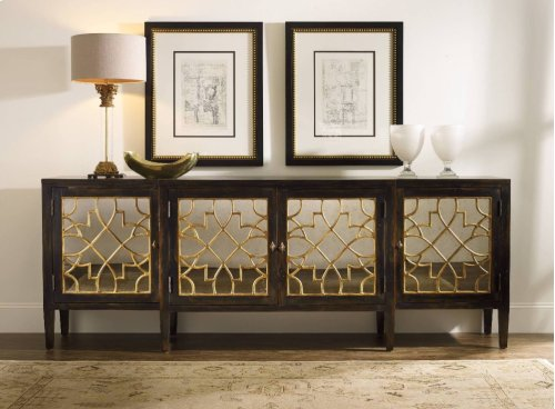 Sanctuary Four Door Mirrored Console- Ebony