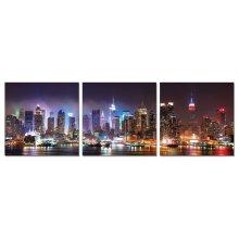 Modrest NYC at Night 3-Panel Photo