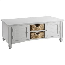 Nantucket 2-door Coffee Table In White With Baskets