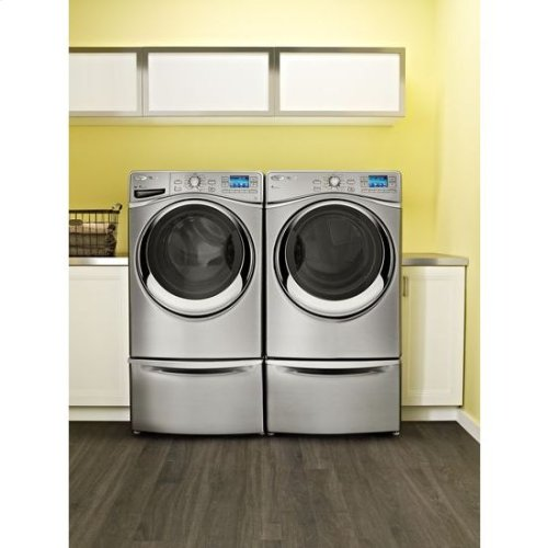 "15.5"" Pedestal for Front Load Washer and Dryer with Storage - chrome"