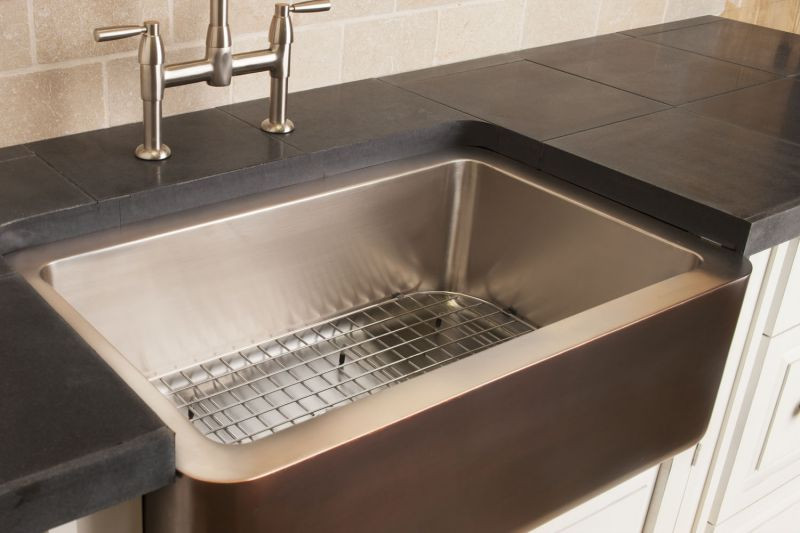 Copper/stainless Farmhouse Sink Stainless Steel / Stainless Steel Sink Grid  Hidden
