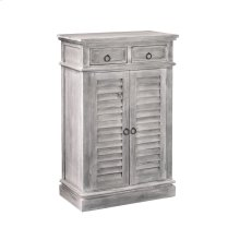 CC-CAB246S-SW  Cottage Two Door Shutter Cabinet  2 Shelves and Drawers  Distressed Gray