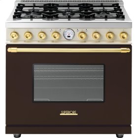 Range DECO 36'' Classic Brown dual color, Gold 6 gas, electric oven, self-clean