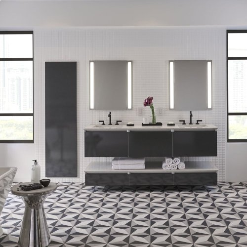 """Cartesian 36-1/8"""" X 15"""" X 18-3/4"""" Single Drawer Vanity In Matte Gray With Slow-close Full Drawer and Night Light In 5000k Temperature (cool Light)"""
