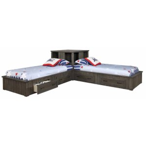 Napoleon Rustic Gun Smoke Twin Bed Corner Unit
