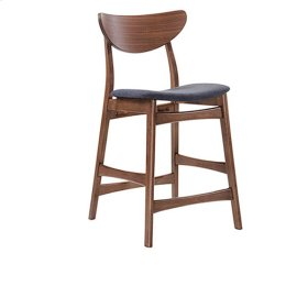 Simplicity - Barstool Wood Back W/uph Blue Seat