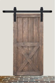 8' Barn Door Flat Track Hardware - Rough Iron Basic Style