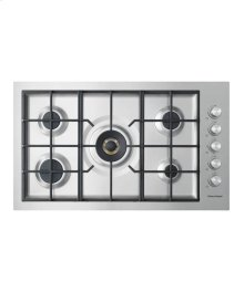 "Gas on Steel Cooktop 36"" 5 Burner, Flush Fit"