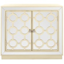 Kaia 2 Door Chest - Antique Beige / Nickel / Mirror