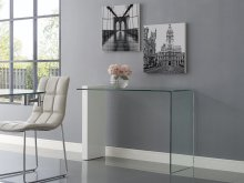 The Buono High Gloss White Lacquer W 1/2 Clear Glass Console Table