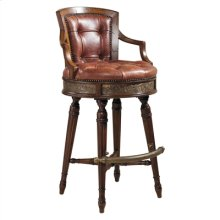 FRONTIER FINISHED MAHOGANY SWI VEL BARSTOOL, DEEP BUTTON SALV ADOR COPPER LEATHER UPH