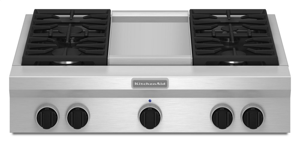 Kitchenaid 36 Inch 4 Burner With Griddle Gas Rangetop Commercial Style Stainless Steel