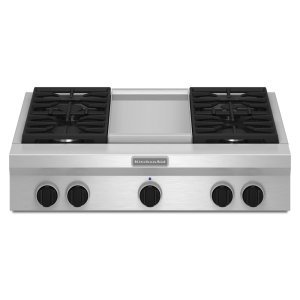 36-Inch 4 Burner with Griddle, Gas Rangetop, Commercial-Style - Stainless Steel -