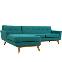 Engage Left-Facing Upholstered Fabric Sectional Sofa in Teal
