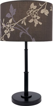 Table Lamp, Dark Bronze/colored Fabric Shade, E27 Cfl 13w