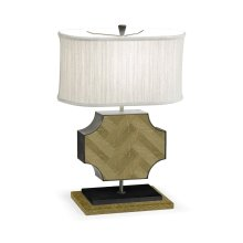 Curved Wide Cross Natural Oak Table Lamp