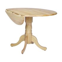 Round Dropleaf Pedestal Table in Natural Product Image