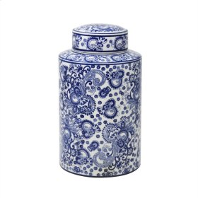 White/blue Patterned Jar 12""