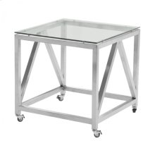Armen Living Enessa Contemporary Square End Table with Wheels in Brushed Stainless Steel Finish with Tempered Glass Top
