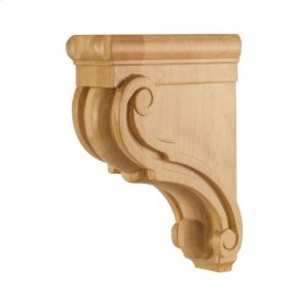 "3"" x 7"" x 10"" Scrolled Wood Bar Bracket Corbel, Species: White Birch"