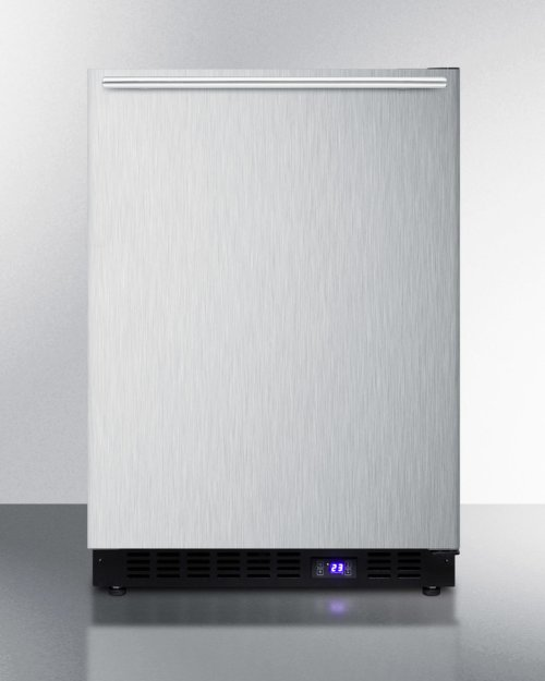 Frost-free Built-in Undercounter All-freezer for Residential Use, With Icemaker, Stainless Steel Door, Horizontal Handle, and Black Cabinet