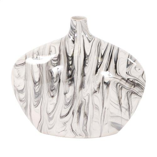 Porcelain Oblong White and Black Swirl Vase, Large