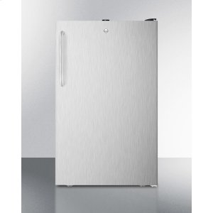"""SummitCommercially Listed 20"""" Wide Counter Height All-freezer, -20 C Capable With A Lock, Stainless Steel Door, Towel Bar Handle and Black Cabinet"""