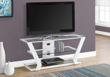"TV STAND - 48""L / WHITE METAL WITH TEMPERED GLASS"