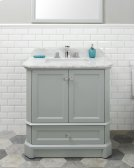 White RICHMOND 30-in Single-Basin Vanity Cabinet with Crema Marble Stone Top and Muse 18x12 Sink Product Image
