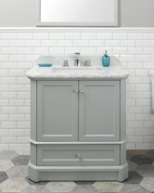 White RICHMOND 30-in Single-Basin Vanity Cabinet with Crema Marble Stone Top and Karo 18x12 Sink