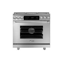 "36"" Heritage Dual Fuel Epicure Range, Silver Stainless Steel, Natural Gas"