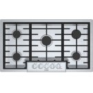 "800 Series, 36"" Gas Cooktop, 5 Burners, Stainless Steel Product Image"
