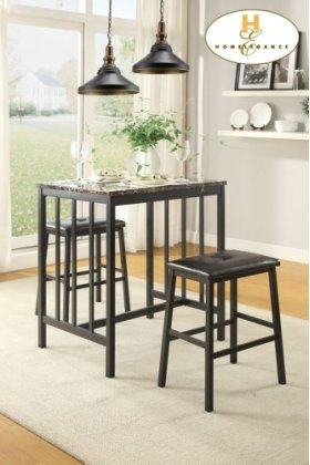 3-Piece Pack Counter Height Set,Faux Mable Top Table: 24 x 32 x 36H Stool: 19 x 13 x 24H