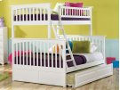 Columbia Bunk Bed Twin over Full with Raised Panel Trundle Bed in White Product Image