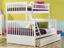 Columbia Bunk Bed Twin over Full with Raised Panel Trundle Bed in White