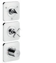 Chrome Thermostatic module 380/120 for 3 outlets with escutcheons for concealed installation