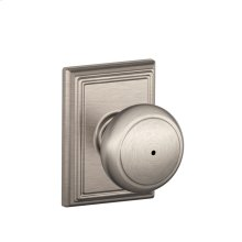 Andover Knob with Addison trim Bed & Bath Lock - Satin Nickel