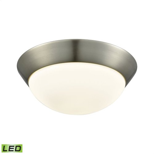 Contours 1-Light Flush Mount in Satin Nickel with Soft Opal Glass - Integrated LED - Medium
