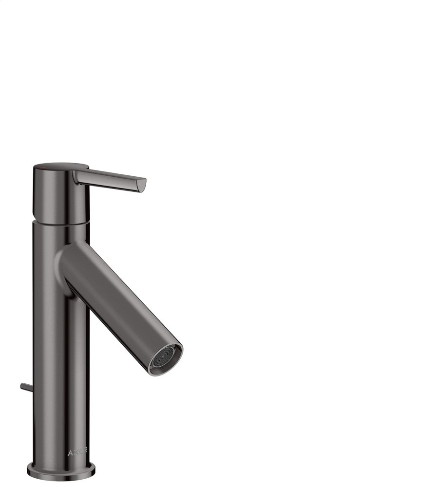 Polished Black Chrome Single lever basin mixer 100 with lever handle and pop-up waste set